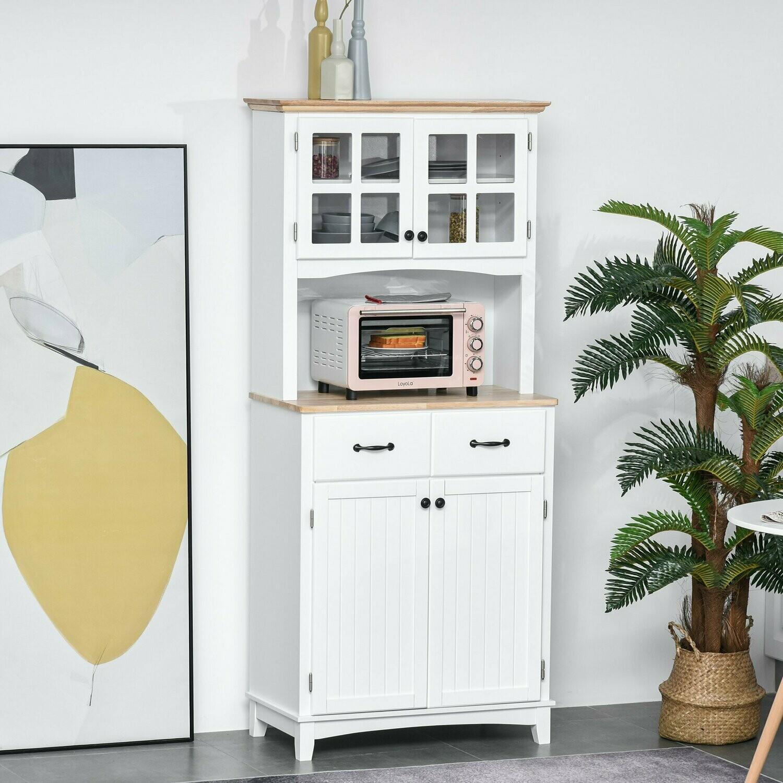HOMCOM® Küchenschrank mit Schublade Hochschrank mit verstellbaren Ablagen Kommode Holz
