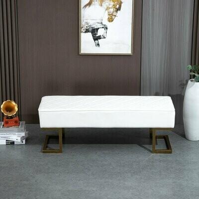 HOMCOM® Sitzbank für Schlafzimmer Truhenbank Bettbank Wohnzimmer Kunstleder Metall Weiss