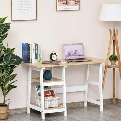 HOMCOM® Schreibtisch mit Bücherregal Computertisch Bürotisch Spanplatte Natur+Weiss