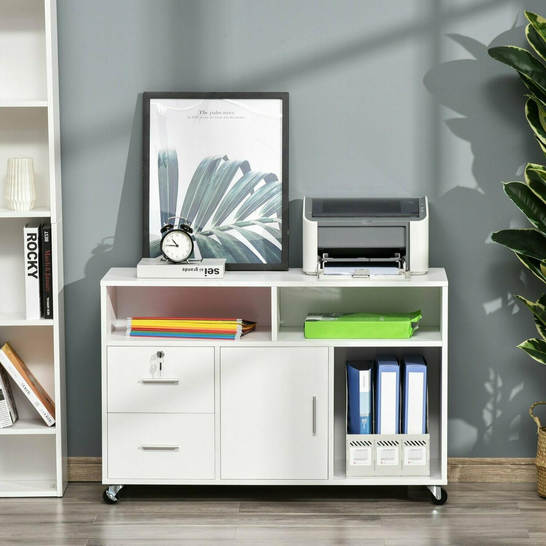 HOMCOM® Bürocontainer mit Rollen Aktenschrank Büroschrank mit Schubladen Spanplatte Weiss