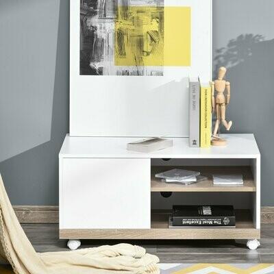 HOMCOM® TV Schrank mit 2 Rollen Moderner Fernsehtisch Lowboard Sideboard Weiss