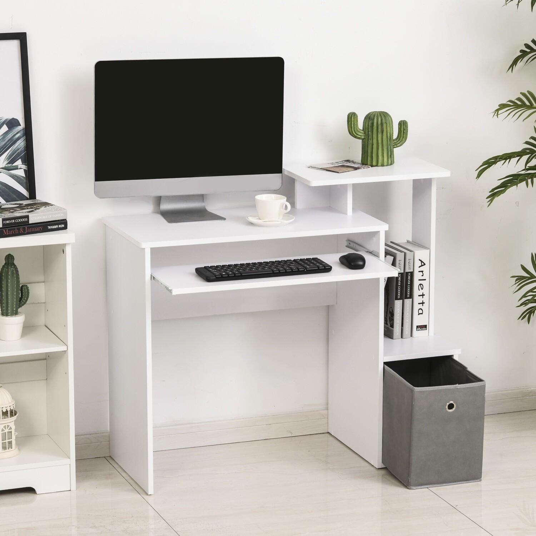 HOMCOM® Computertisch Schreibtisch Bürotisch PC-Tisch mit Tastaturablage Weiss