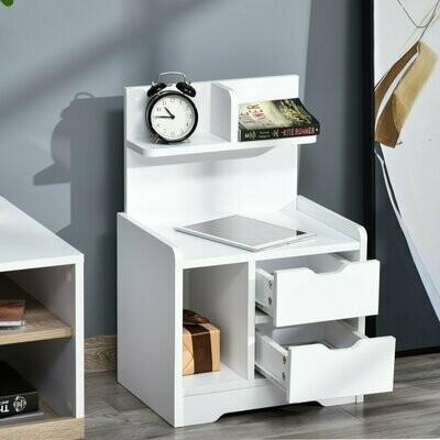 HOMCOM® Nachttisch mit 2 Schubladen moderner Nachtschrank mit offenen Ablage Weiss