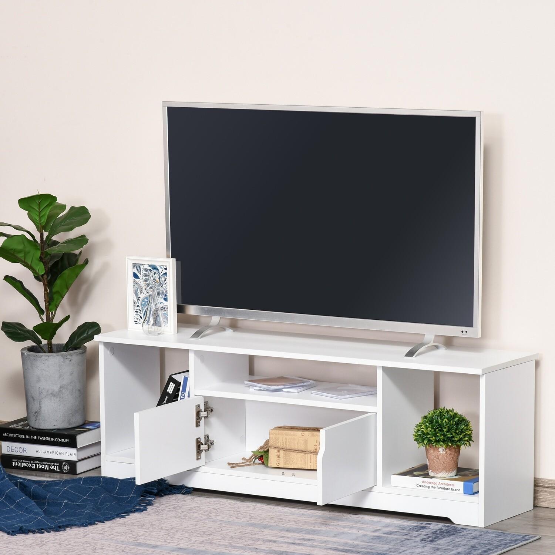 HOMCOM® TV Schrank TV-Kommode Fernsehtisch mit Schrank und Offene Regale Weiss