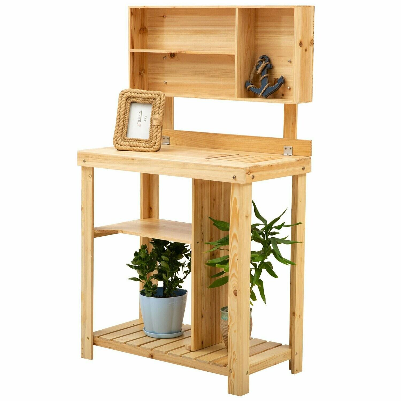 Outsunny® Pflanztisch Gartenarbeitstisch für Garten Balkon Terrasse aus Tannenholz Natur