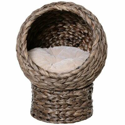 PawHut® Katzenkorb, Katzenbett mit Kissen, Katzenhöhle, Bananenblatt, Grau
