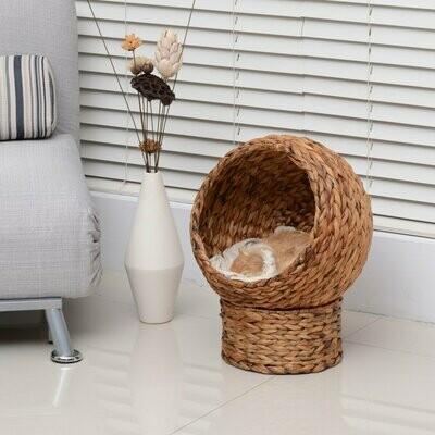 PawHut® Katzenkorb Rattan-Katzennest Katzenbett mit Kissen Haustierbett Braun