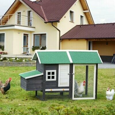 PawHut® Hühnerstall Hühnerhaus mit Nistkasten und überdachter Laufstall Asphalt Metall- auch als Hasenstall verwendbar