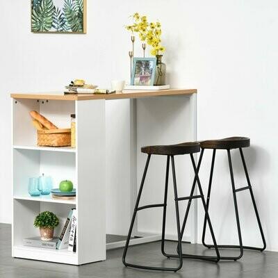 HOMCOM® Bartisch Küchentisch mit Ablage Regal mit Metallrahmen und Tischplatte Holzfarbe