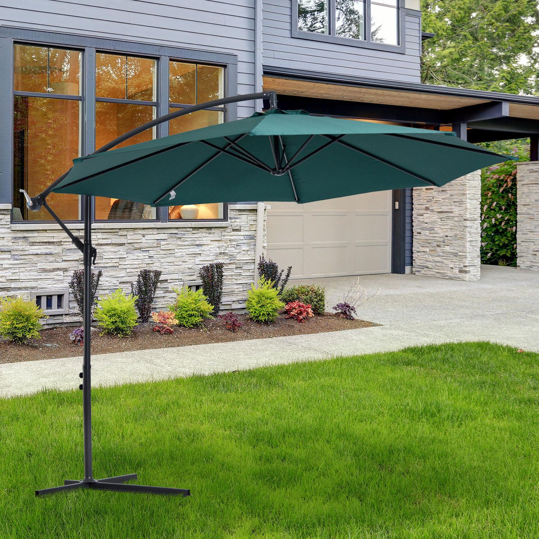 Outsunny® Sonnenschirm abnehmbar Ampelschirm Kurbelschirm mit Handkurbel Grün
