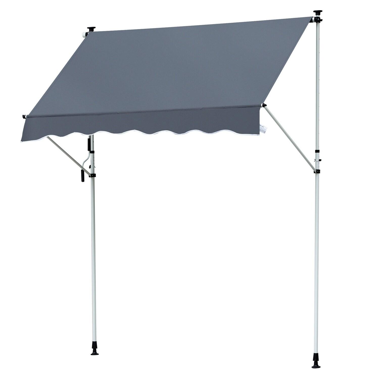 Outsunny® Sonnenstore Markise Faltarm Klemmmarkise Sonnenschutz Handkurbel Balkon Alu 3x1,2m Grau