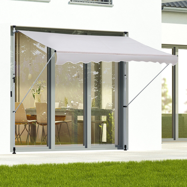 Outsunny® Sonnenstore Markise Faltarm Klemmmarkise Sonnenschutz Handkurbel Balkon Alu 2x1,2m Creme