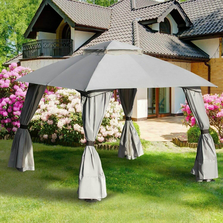 Outsunny® Pavillon mit Seitenwände Partyzelt mit Doppeldach 3x3x2,8m Festzelt Hellgrau