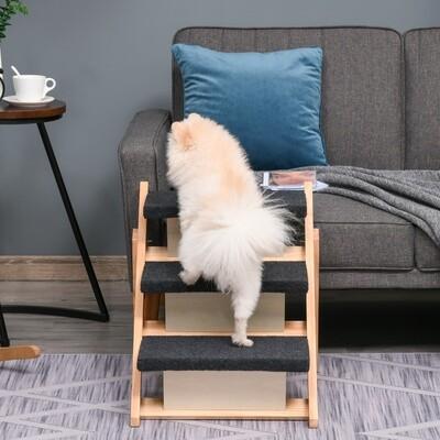 PawHut® Haustiertreppe 2-in1 Hunderampe Katzentreppe Hundetreppe Faltbar Tiertreppe Holz