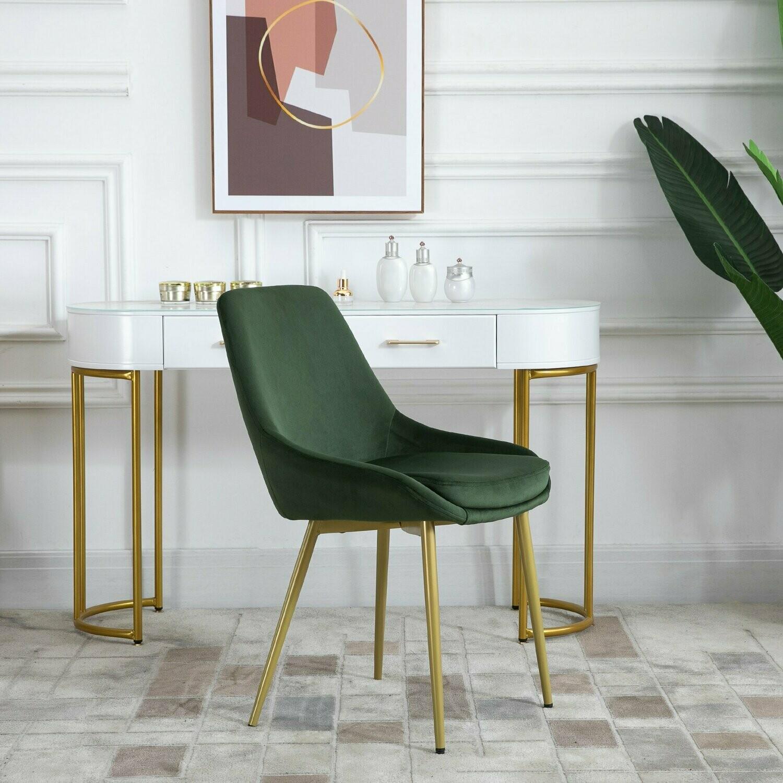 HOMCOM® Esszimmerstuhl mit Rückenlehne Küchenstuhl vintage Polsterstuhl Polyester Grün