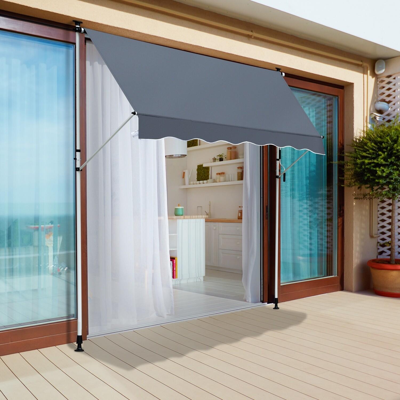 Outsunny® Sonnenstore Markise Faltarm Klemmmarkise Sonnenschutz Handkurbel Balkon Alu 2x1,2m Grau
