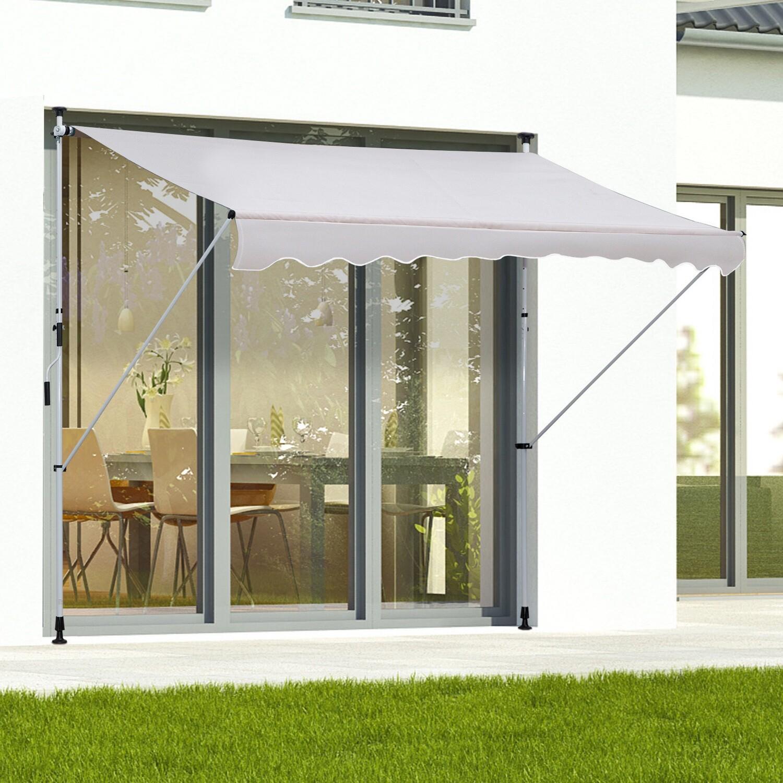 Outsunny® Sonnenstore Markise Faltarm Klemmmarkise Sonnenschutz Handkurbel Balkon Alu 3x1,2m Creme