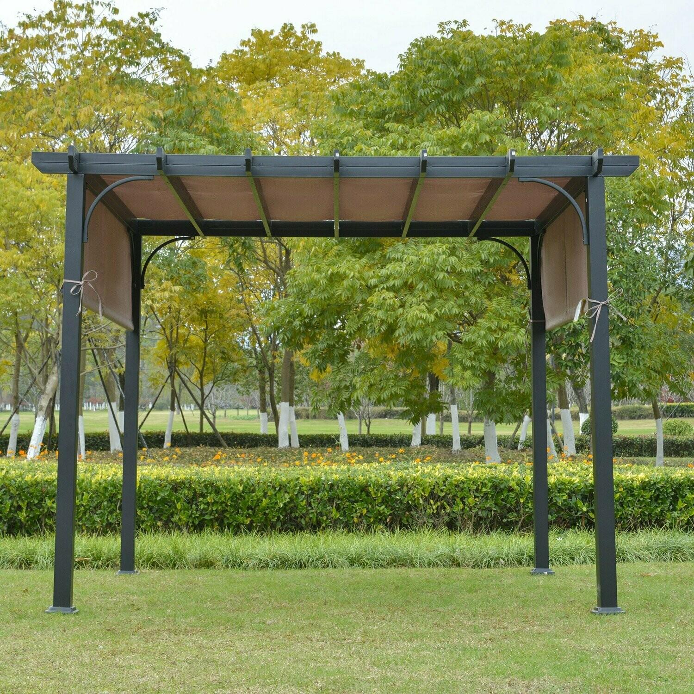 Outsunny® Pavillon 3x3m Pergola mit einstellbarem Stoffdach UV+ Wasserfest Stahl