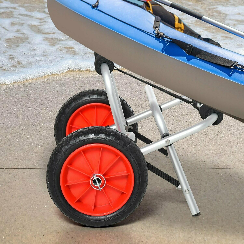 HOMCOM® Alu Kanuwagen Kajakwagen Surfwagen klappbar mit Gurt Luftreifen bis 75 kg