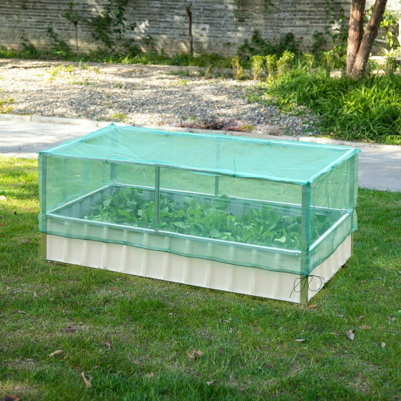 Outsunny® Gartenbeet Pflanzkasten Blumenkasten mit Netzabdeckung Stahl Nylon Weiss+Grün