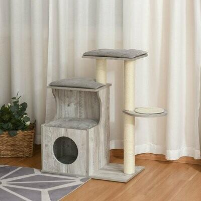 PawHut® Kratzbaum mit Katzenhöhle Katzenbaum Kletterbaum für Katzen E1 MDF Sisal Grau