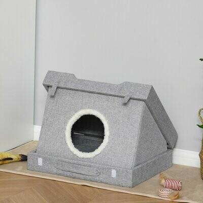 PawHut® Katzenhöhle mit Kraztbrett multifunktionale Katzenbett Kratzhaus faltbar Sisal