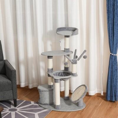 PawHut® Kratzbaum mit Katzenhöhle Hängematte Katzenbaum 3 Bälle Jute Grau