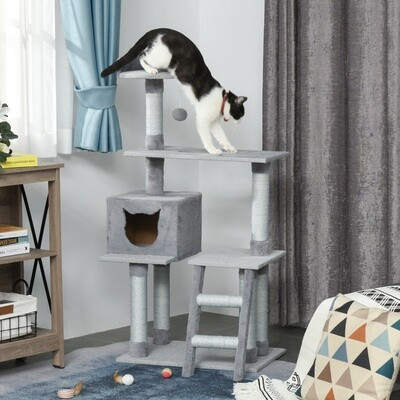PawHut® Kratzbaum Katzenbaum mit Katzenhöhle Leiter E1 Spanplatte Jute Grau