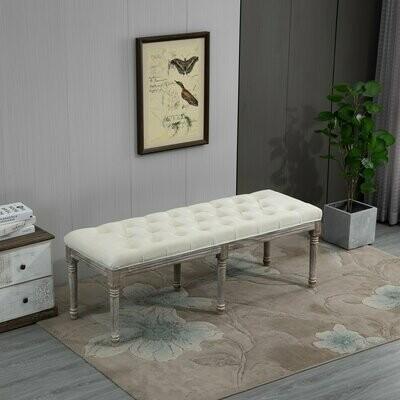 HOMCOM® Polsterbank Sitzbank Vintage Retro Bettbank mit Knöpfen Samtige Berührung Beige