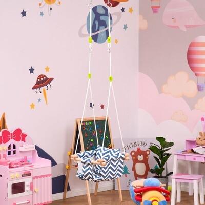 Outsunny® Kinderschaukel mit Sicherheitsgurt Kissen faltbare Babyschaukel Buche