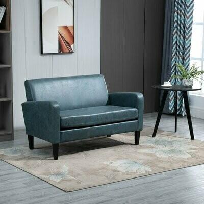 HOMCOM® Sofa Polstersofa Loveseat Modern Wohnzimmer Eingang Blau mit Muster