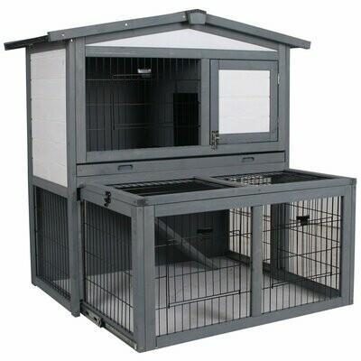 PawHut® Kaninchenhaus Kaninchenstall Stall mit Rampe für Hasen mit Freilauf Holz