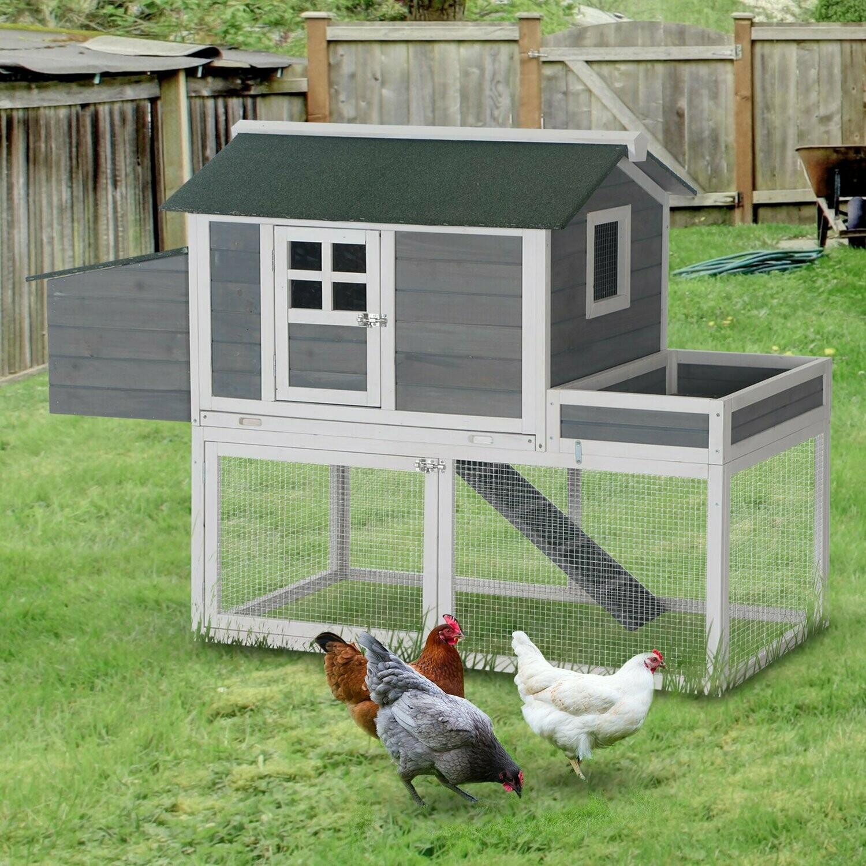 PawHut® Hühnerstall Hühnerhaus mit Nistkasten Pflanzkasten Grau Holz Metalldraht Asphalt