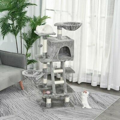 PawHut® Kratzbaum mit Katzenhöhle Mehrstufiger Katzenbaum für Katzen Grau