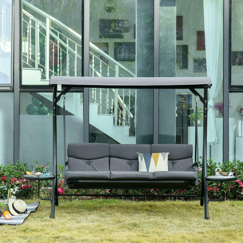 Outsunny® Hollywoodschaukel 3-Sitzer Gartenschaukel mit verstellbarem Sonnendach Teetisch