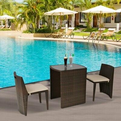 Outsunny® 3-tlg. Gartensitzgruppe mit Beistelltisch Rattan Gartenset Polyrattan Metall