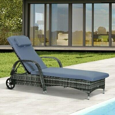 Outsunny® Polyrattan Gartenliege Sonnenliege Rattanliege Gartenmöbel Mobil Grau