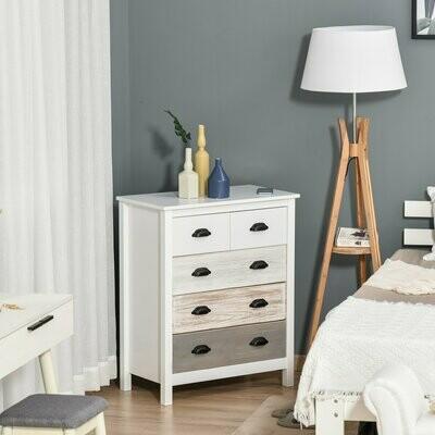 HOMCOM® Schubladenschrank Büroschrank mit 5 Schubladen Kommode MDF Tannenholz