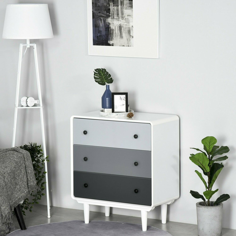 HOMCOM® Schubladenschrank Büroschrank mit 3 Schubladen Kommode MDF Holz