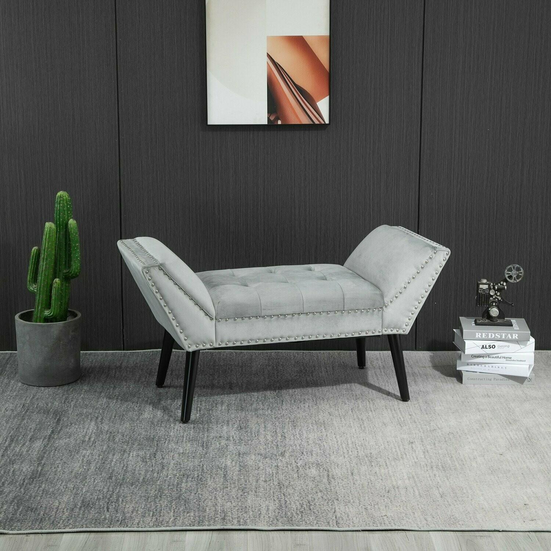 HOMCOM® Polsterbank Sitzbank moderner Bettbank mit Knöpfen Samtige Berührung Hellgrau