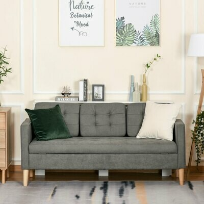 HOMCOM® 3-Sitzer Sofa Stoffsofa Doppelsofa abnehmbar mit Kissen Gummiholz Baumwoll Grau