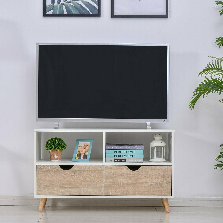 HOMCOM® TV Schrank TV-Kommode Schrankelement mit Schubladen Holz Weiss+Natur