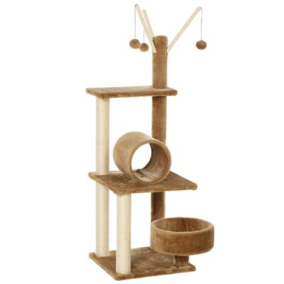 PawHut® Kratzbaum Katzenbaum Kletterbaum mit Katzenrohr Katzenstock Braun