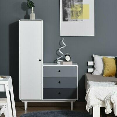 HOMCOM® Kleiderschrank mit Nachttisch 2-in-1 Schrank mit Stange Schublade MDF Holz Weiss