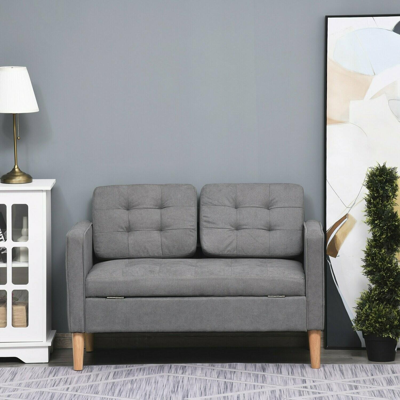 HOMCOM® 2-Sitzer Sofa Stoffsofa Doppelsofa abnehmbar mit Kissen Gummiholz Baumwoll Grau