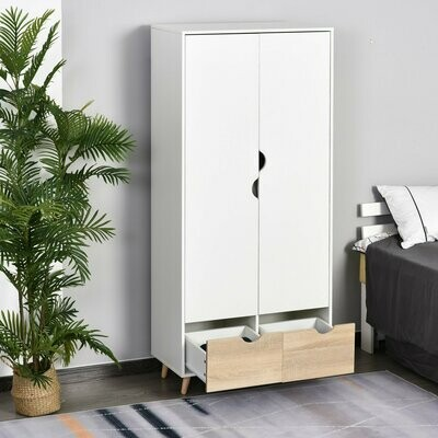 HOMCOM® Kleiderschrank Garderobe Schrank mit Stange Schublade Weiss+Natur