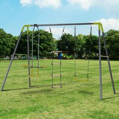 HOMCOM® Kinderschaukel Gartenschaukel Schaukelset mit Wippe Kletterseilleiter