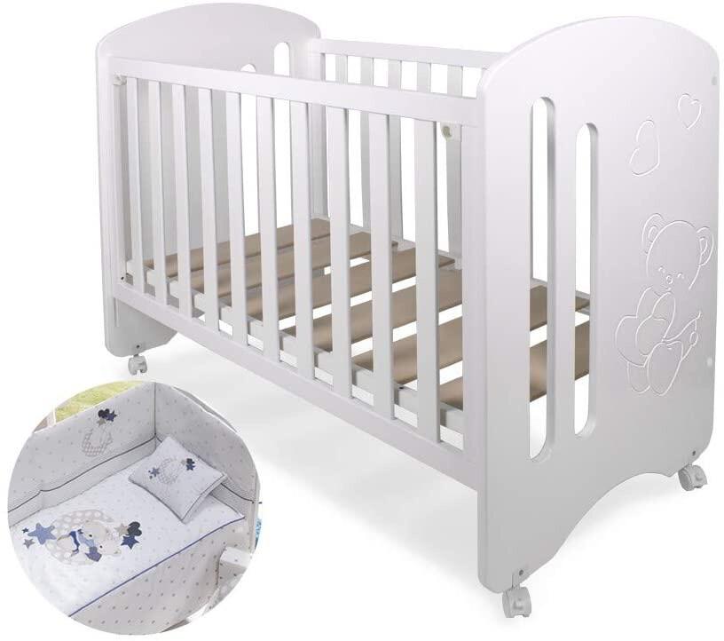 Interbaby Kinderbett Lovely junior 124 x 63 cm Holz weiss/lila