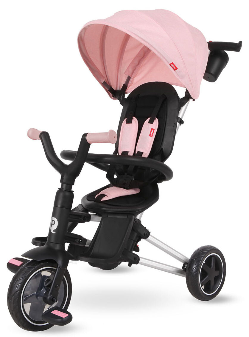 QPlay Dreirad Nova 4-in-1 Girls Schwarz / Pink Kinderwagen Buggy