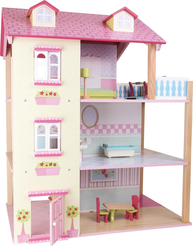 Small Foot Puppenhaus Rosa Dach 3 Etagen, drehbar